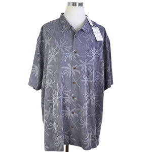 NEW Tommy Bahama Shirt 5XL Grey Palm Over Miami